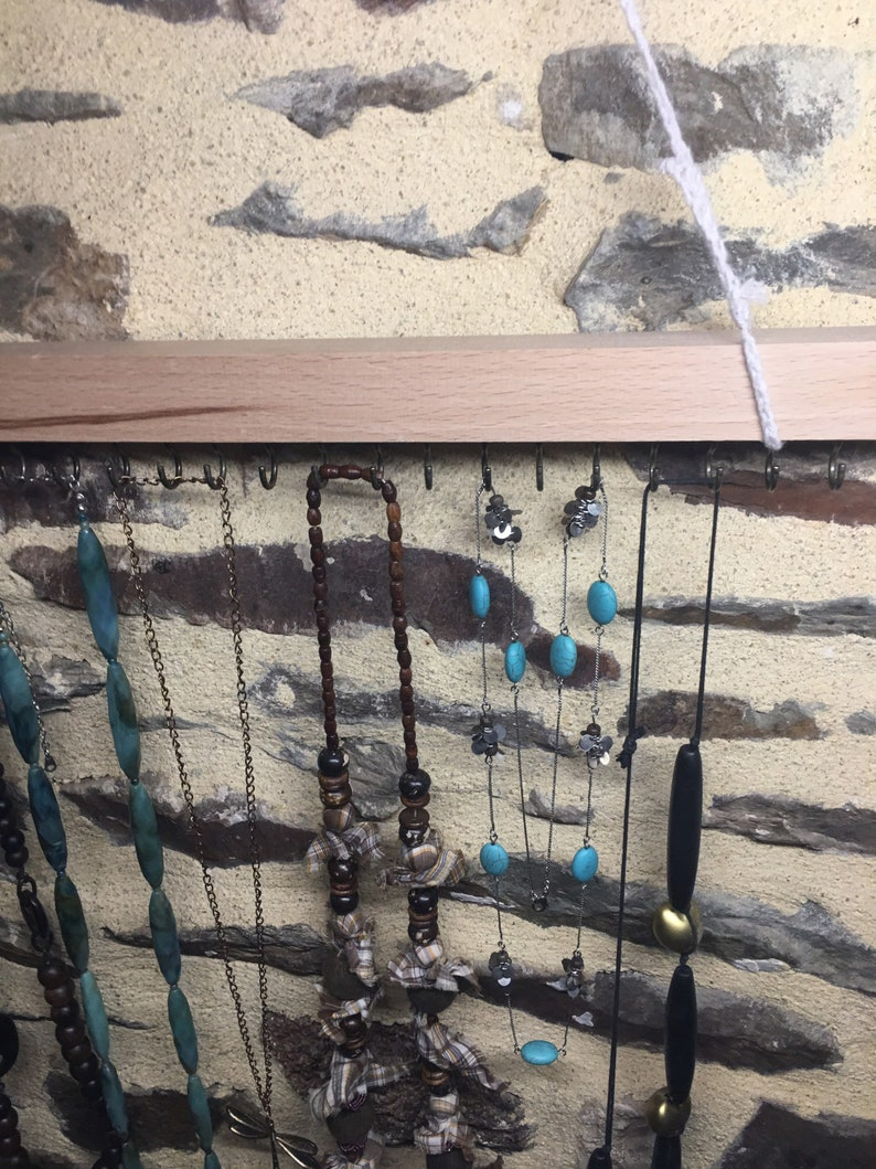 Organizer for necklace and wooden bracelets 19 hooks Jewelry displays
