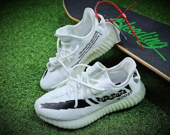 a7f5f2a1 Customized yeezy 350 v2 Sneakers,Custom YeezyBoost, Hypebeast Shoes, Off  White Sneaker, Independence Day Gifts, Off White Boost,white