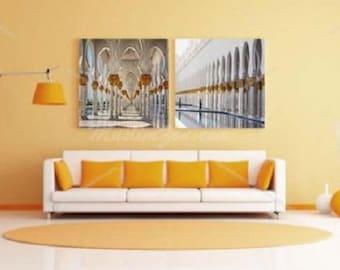 Dubai Gold Arches Mosque #3 Photo Islamic Gallery Wrapped Canvas Art Print Wall Art Ramadan Eid Home Decoration Gift