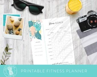 Digital Fitness Tracker   8.5 x 11, Letter Size   Download & Print, Printable Motivational Fitness Planner   Tropical Floral Pattern