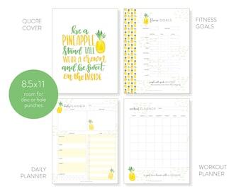 Digital Fitness Tracker   8.5 x 11, Letter Size Downloadable, Printable Motivational Fitness Planner   Tropical Pineapple Pattern