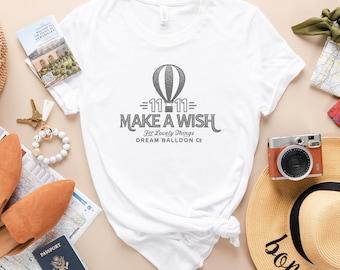 11:11 Make a Wish Air Balloon - Retro Vintage Stamp Style Logo Tshirt Tee