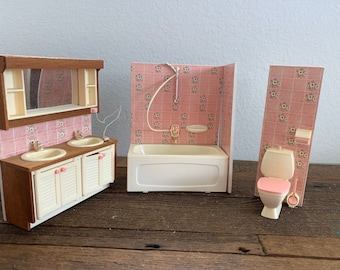 Dollhouse Miniature Bath Shelf with Pink Yellow and Green Accessories Bathroom