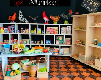 Little Red Rooster Market, Dollhouse Miniature Groceries, Food, Liquor, Produce