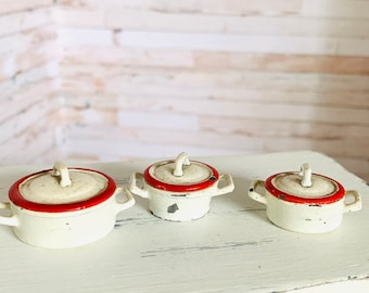 Antique German Dollhouse Pans, Miniature, Enameled Metal, Kitchen