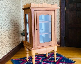 Dollhouse Curio Cabinet, Vintage Miniature Furniture, Glass Panels, Shackman Japan, Teak