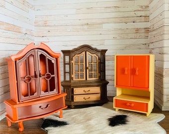 Dollhouse Vintage Furniture, Plastic Hutch Cabinet Jean of West Germany