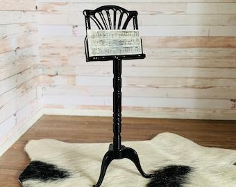 Dollhouse Furniture Music Stand Podium  Black Lacquer