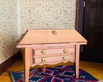 Dollhouse Wood Desk, Corner, Vintage Miniature Furniture, Shackman Japan, Teak