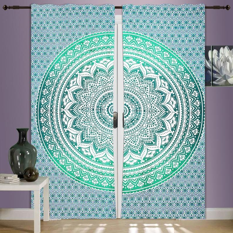 Indian Mandala Curtains Boho Chic 100/%Cotton Rajasthani CraftIn In Present ombreTree Window Curtains OmbreTreen Of Life Door Curtains