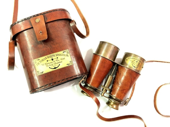 Antique Nautical Brass Binocular with Leather Cover