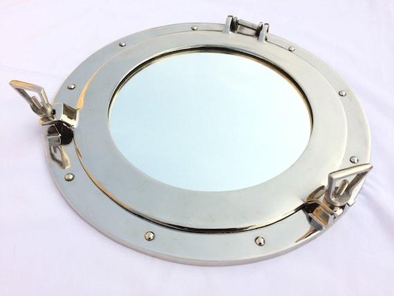 """15/"""" Aluminum Porthole with Jute Rope Window~Ship Boat Porthole Mirror Wall Decor"""