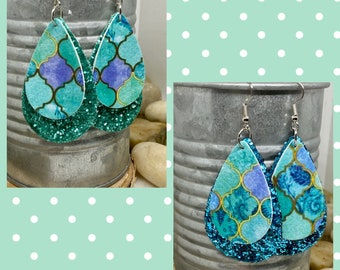 Hot Pink Purple Fish Scale Earrings Ocean Theme Nautical Little Mermaid ** Fish Scale Cabochon Bronze Leverback Earrings