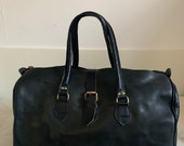 Moroccan black leather travel bag