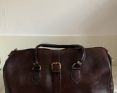 Moroccan brown leather travel bag