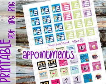 Appointments Planner Stickers, Printable Planner Stickers, Functional Stickers, PDF, JPG, PNG