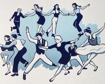 Lindy Hop Toe Tappin/' Print Lindy Hop Art Print Swing Dance Print Hand Drawn Illustration Jazz Wall Art