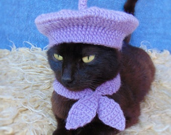 French Beret Hat and Scarf, Beret Hat for Cat, Cat Scarf, Purple Kitten Outfit, Cat Accessories, Black Cat Costume, Pet Costume