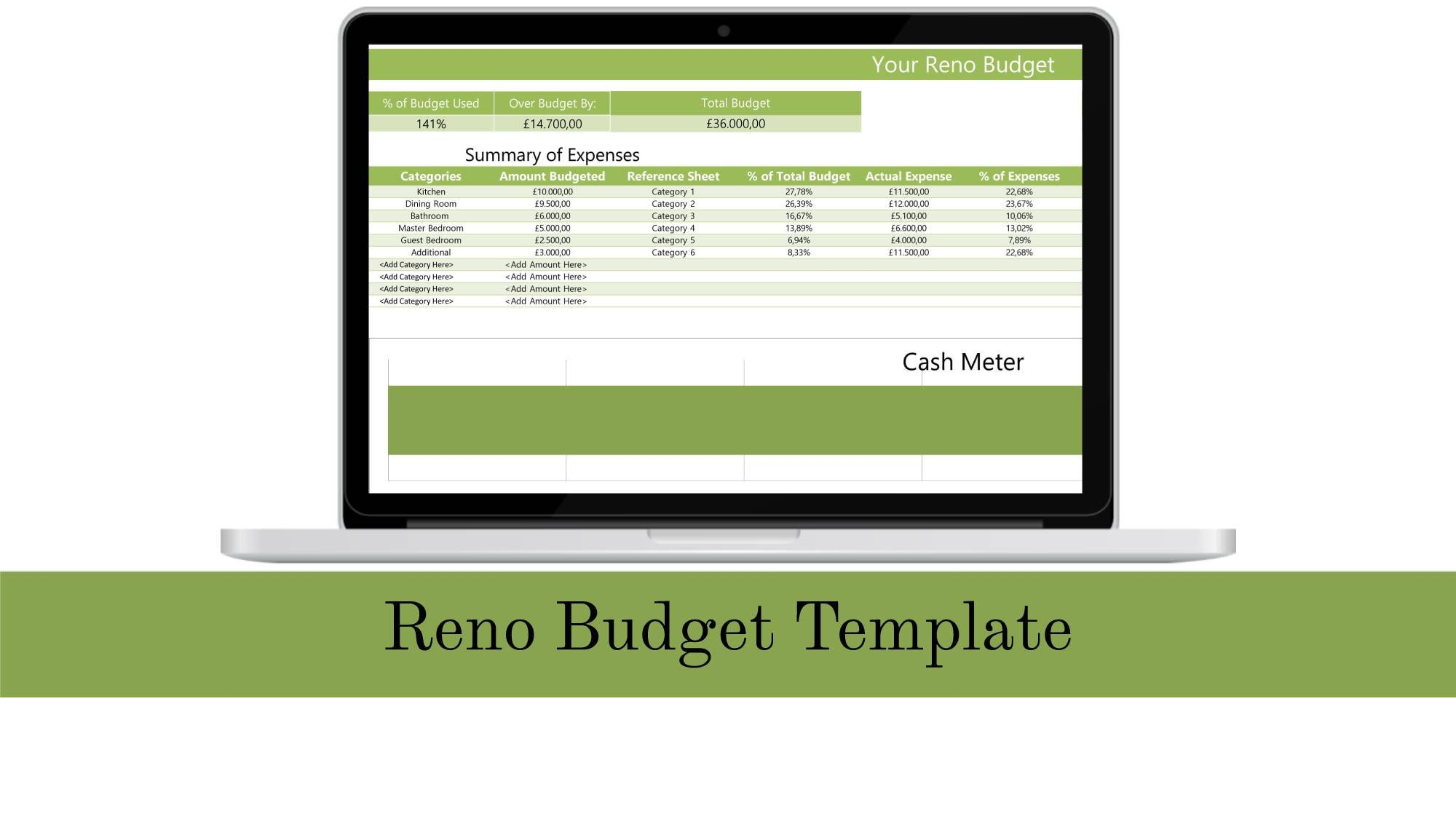 Home Reno Budget Template 2019 Excel Spreadsheet Simple Expense Tracker Home Renovation Planner Excel Template Simple Excel Spreadsheet