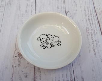 Vintage sheep ring dish trinket dish hand painted red earthenware sheep lamb ring trinket dish rustic farmhouse decor