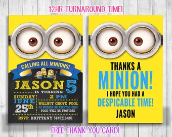 photo relating to Free Printable Minion Invitations identified as Woman minion invitations Etsy