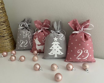 Advent Calendar Bags for self-filling made of fabric in different colors Advent calendar for children and adults