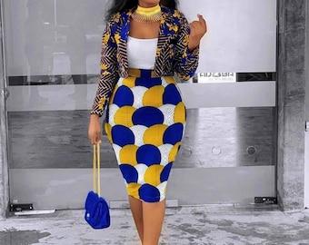 Yellow Mardi Ankara Two Piece Skirt Set African Skirt Set