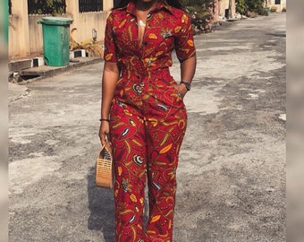 Ahdia Ankara Jumpsuit, African Print Jumpsuit, African Clothing for women, Ankara Fashion Ankara Clothing, African Jumpsuit