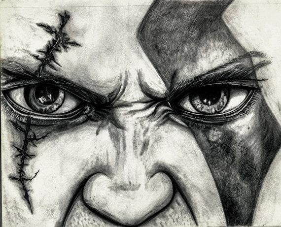 Kratos God Of War Demigod Graphite Drawing Print