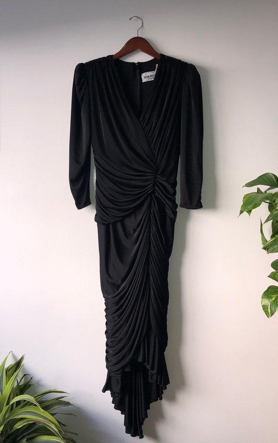 Vintage 1980's Black Long Sleeve Ruched Evening Dr