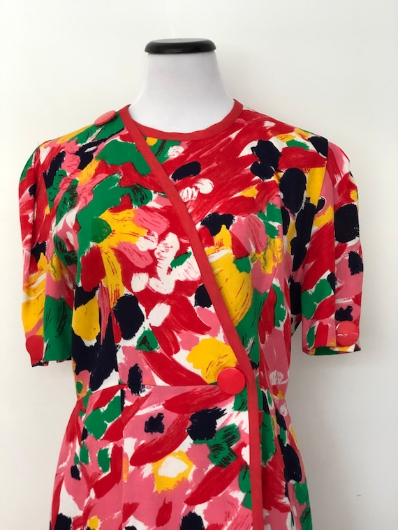 Vintage 1980's BALMAIN Abstract Floral Wrap Dress