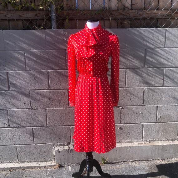 Vintage 1980's Red And White Polka Dot Dress