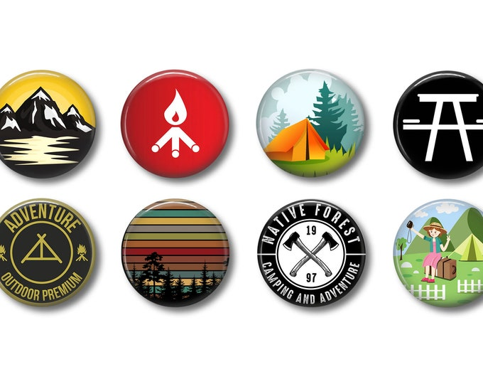 Hiking Flair Buttons Refrigerator Magnets Camping Flair Pins Hiking Flair Pins Camping Flair Buttons