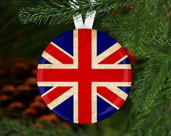 UK Flag Union Jack Christmas Winter Fall Cabin Print Christmas Holiday Stockings Custom Design Xmas Tree Decorations Set Christmas Decor Santas Toys Stockings 16.5X10.2 Inch
