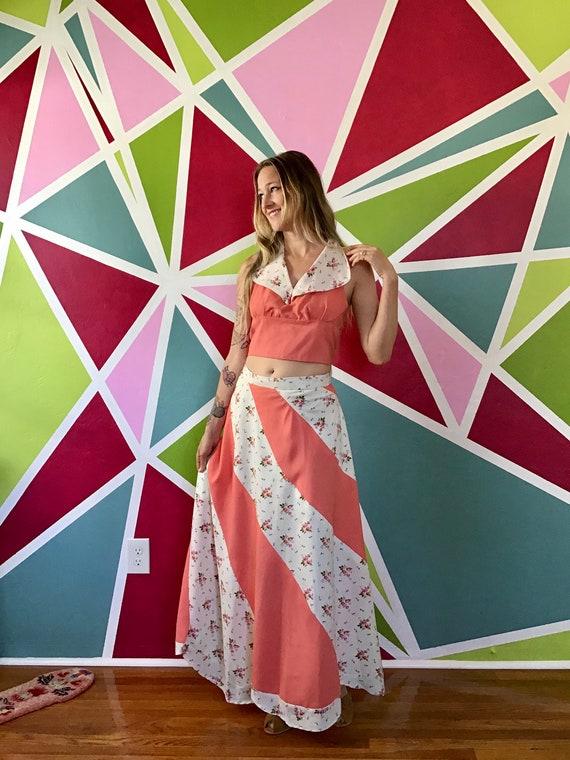1970s Women's Bias Cut Maxi Swirl Skirt & Halter S