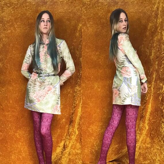 Lurex Dot 1970'S Dagger Collar Mini Dress