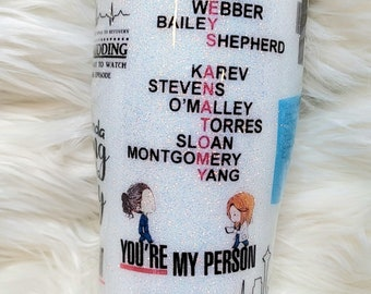 Grey's Anatomy 2.0 tumbler, Greys Cup, Glitter tumbler, glitter cup, gifts, gift idea