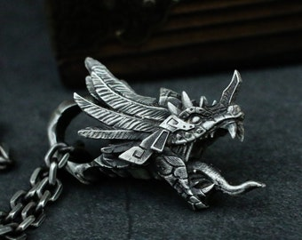 Quetzalcoatl 925 silver pendant necklace, Mayan mythological snake god pendant necklace, feathered snake-Craftsmen made