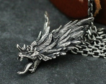 Quetzalcoatl Kukulcan 925 Silver Pendant Necklace, American Civilized Totem Silver Pendant Necklace, Amulet Necklace Pendant-Craftsmen made