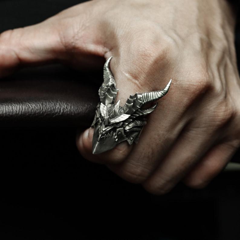 1. World of Warcraft-Deathwing-925 Handmade Silver Ring