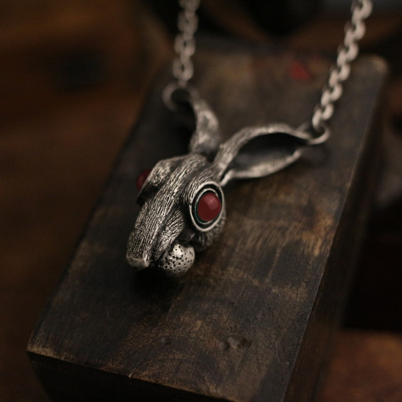 hooligan rabbit sterling silver gothic vintage gift Craftsman made ruby eyes inlaid Long-eared rabbit 925 silver pendant necklace