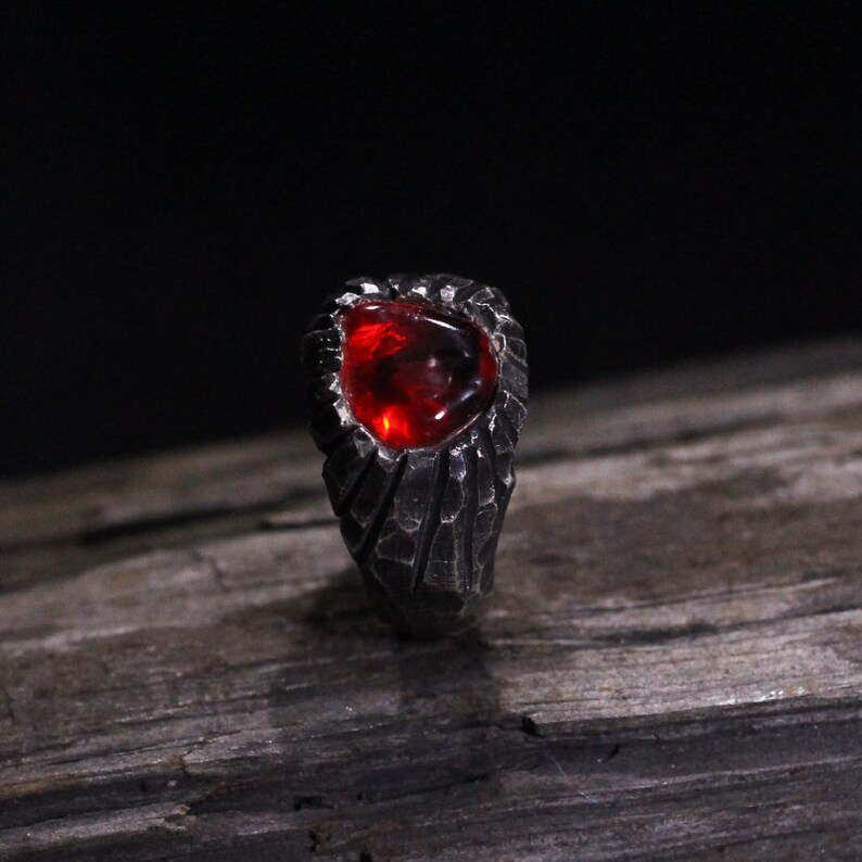 Stone inlaid ring-Craftsman made Garnet 925 Silver Ring,Gift for mother,Red Stone Ring
