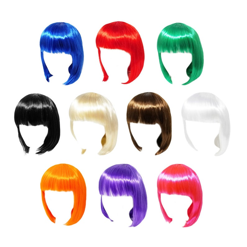 Photo Prop Costume Party Cosplay Economy Short Black Bob Wig with Bangs Birthday Fun Adult Teens Halloween Gift Dress Up Dance Show