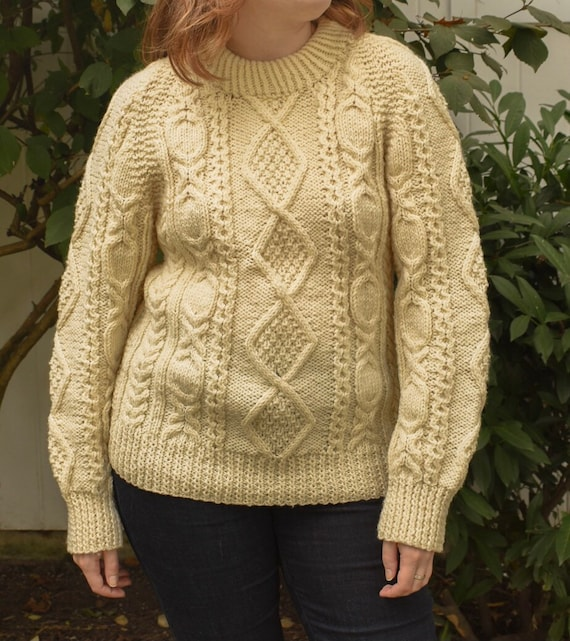 Handmade Cream Colored Irish Cable Knit Sweater