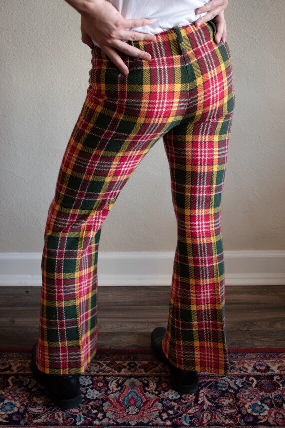 1970s Plaid Wool Flare Pants