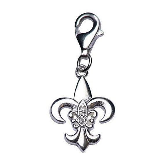 Sterling Silver Black Enameled Fleur De Lis w//Lobster Clasp Charm