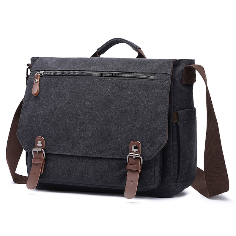 Vintage Canvas Leather Satchel Messenger Bag Crossbody Laptop Shoulder Bag Mens