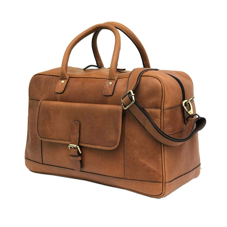 Leather Unisex Bag Duffel Weekender Large Gym Duffle Overnight Carry On Luggage
