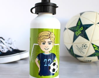 Personalised Character Metal Water Bottle with Interchangeable Lids for Boys and Girls - Kids Reusable Bottle - Children Birthday Gift