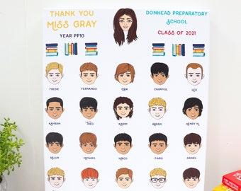 Personalised School Leaving Gift for Teachers or Students -  Unique Thank You Teacher Gift - Custom School Leavers Keepsake Print